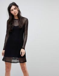 Kubban Fishnet Overlay Dress - Black