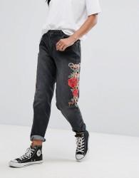 Kubban Floral Embroidered Side Mom Jeans - Black