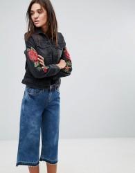 Kubban Floral Embroidered Slim Denim Jacket - Black