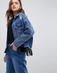 Kubban Mesh Underlayer Oversized Denim Jacket - Blue