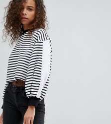 Kubban Petite Balloon Sleeve Striped Cropped Sweatshirt - Black