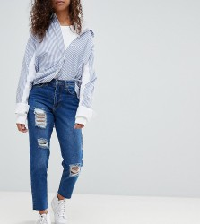 Kubban Petite Core Destroyed Mom Jeans - Blue