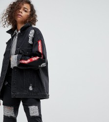 Kubban Petite Tape Arm Oversized Denim Jacket - Black
