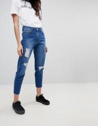 Kubban Raw Hem Distressed Hem Mom Jeans - Blue
