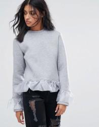 Kubban Ruffle Detail Sweatshirt - Grey