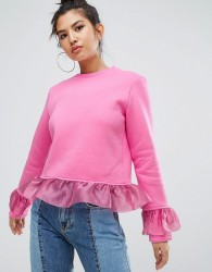 Kubban Ruffle Detail Sweatshirt - Pink