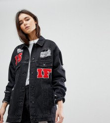 Kubban Tall As If Embroidered Oversized Denim Jacket - Black
