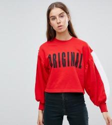 Kubban Tall Balloon Sleeve Original Cropped Sweatshirt - Red
