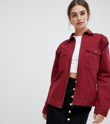 Kubban Tall Boxy Denim Jacket - Red
