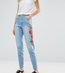 Kubban Tall Floral Embroidered Side Mom Jeans - Blue