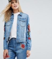 Kubban Tall Floral Embroidered Slim Denim Jacket - Blue