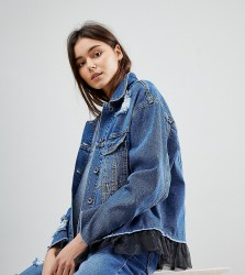 Kubban Tall Mesh Underlayer Oversized Denim Jacket - Blue