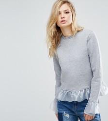 Kubban Tall Ruffle Detail Sweatshirt - Grey