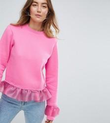 Kubban Tall Ruffle Detail Sweatshirt - Pink