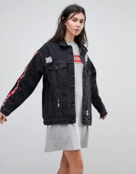 Kubban Tape Arm Oversized Denim Jacket - Black