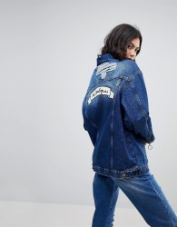 Kubban Zip Front Denim Jacket with No Apologies Back Patch - Blue