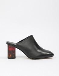 Kurt Geiger Black Leather Mules With Tortoise Effect Contrast Heel - Black
