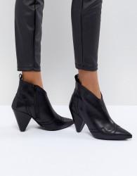 Kurt Geiger Black Leather Western Heeled Ankle Boots - Black