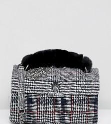 Kurt Geiger Kensington grey plaid tweed shoulder bag with faux fur grab handle - Black