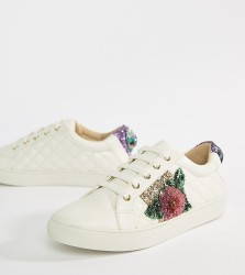 Kurt Geiger Lily white rainbow and flower trainers - White