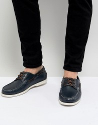 Kurt Geiger London Leather Boat Shoes In Navy - Navy