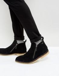 Kurt Geiger London Otis Suede Zip Boots In Black - Black