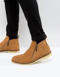 Kurt Geiger London Otis Suede Zip Boots In Tan - Stone