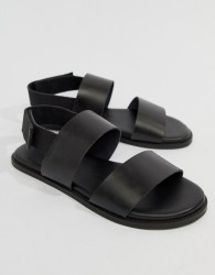 Kurt Geiger London Usher Leather Sandals In Black - Black