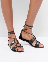 Kurt Geiger Marci leather tie up flat sandals - Black