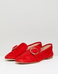 Kurt Geiger Red Suede Circle Buckle Loafers - Red