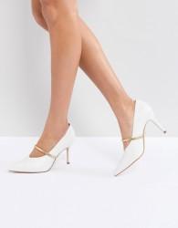 Kurt Geiger V Cut Mid Kitten Heel With Strap - White