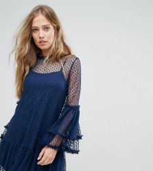 Lace & Bead High Neck Swing Dress In Spot Mesh - Navy