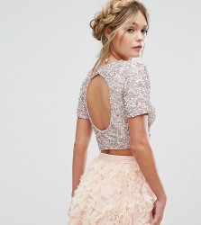 Lace & Beads Cropped Top with Embellishment and Open Back Co-ord - Pink