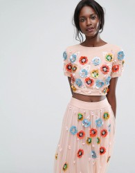 Lace & Beads Cropped Top with Neon 3D Embellishment - Multi