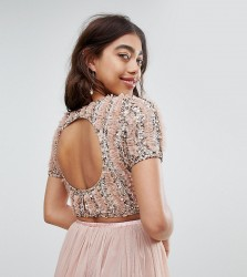 Lace & Beads cropped top with ruffle embellishment and open back co-ord - Beige