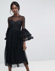 Lace & Beads Dobbie Mesh Sheer Midi Dress with Exaggerated Sleeve - Black
