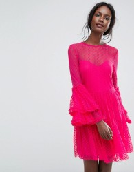 Lace & Beads Dobbie Mesh Sheer Mini Dress with Exaggerated Sleeve - Pink