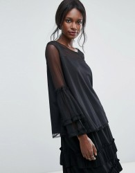 Lace & Beads Dobbie Mesh Sheer Top with Exaggerated Sleeve - Black