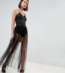 Lace & Beads Embellished Bodysuit With Sheer Skirt - Black