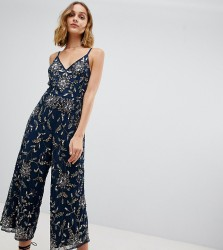 Lace & Beads embellished cami strap culotte jumpsuit - Black