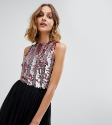 Lace & Beads embellished crop top in multi berry sequin - Red
