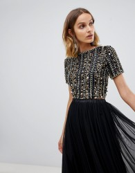 Lace & Beads embellished crop top in multi black sequin - Black