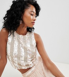 Lace & Beads embellished crop top in nude - Pink