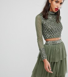 Lace & Beads Embellished Long Sleeve Crop Top With Mandarin Collar - Green