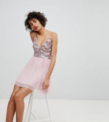 Lace & Beads Embellished Mini Dress With Tulle Skirt - Pink