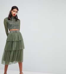 Lace & Beads Embellished Skirt In Layered Tulle - Green