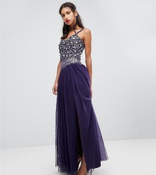 Lace & Beads Embellished Tulle Maxi Skirt - Purple