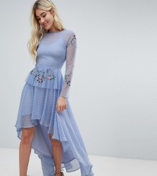 Lace & Beads embroidered high low dress in blue - Blue
