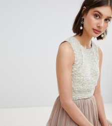 Lace & Beads Mermaid Embellishment Cropped Top - Multi