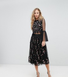 Lace & Beads Midi Skirt in 3D Embellishment - Black